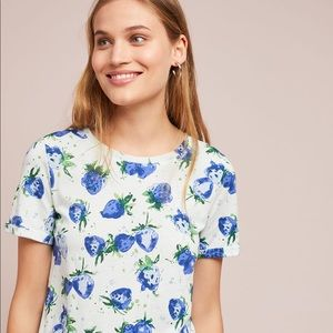 Anthropologie Maeve Blue Strawberry Fields Tee NEW